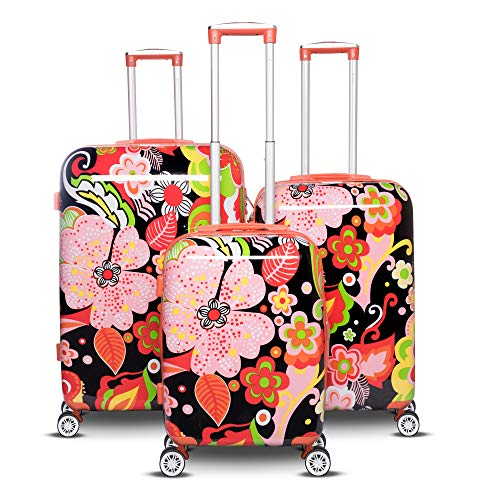 Collection Hardside Luggage - The Floral Collection 3 Piece Expandable Hardside Luggage Set (Black)