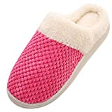NUWFOR Women Warm Home Plush Soft Slippers Indoors Anti-slip Winter Floor Bedroom Shoes(Watermelon Red,6-7.5 M US)
