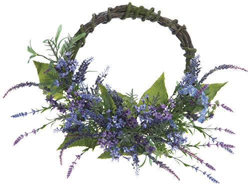 Allstate 24 Inch Lavender and Dianthus Wreath, Artificial Floral on Twisted Vine Look Base, Spring and Summer Front Door ()