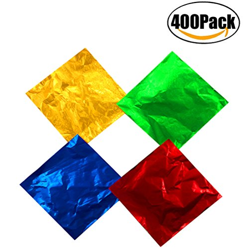 FBAPluto 400 Pieces Aluminium Foil Christmas Candy Wrappers 4 by 4 Inch Chocolate Wrappers for Christmas DIY Candies and Chocolate Packaging, 4 Colors 10cm x 10cm - Christmas Assorted Wrapping Paper