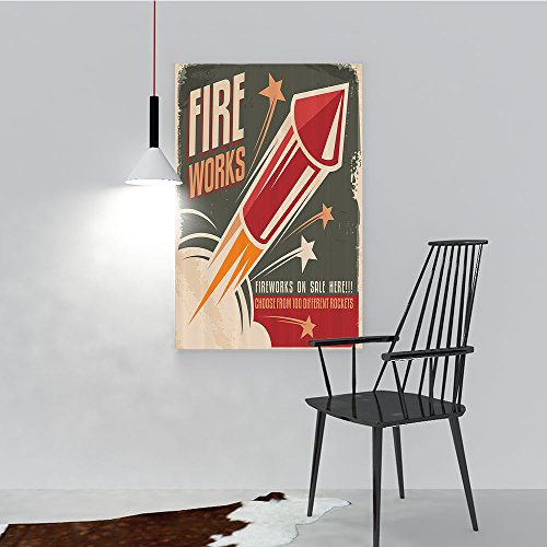 Philip C. Williams Hanging Wall Decoration Painting Fireworks in Vintage Paper with Stars Rockets Western Halloween for Living Room Office Hotel Frameless W20 x -