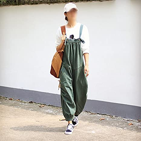 KEWLKATS Womens Loose Casual Cotton Jumpsuits Overalls Harem Pants With Pockets MODEL/_0705