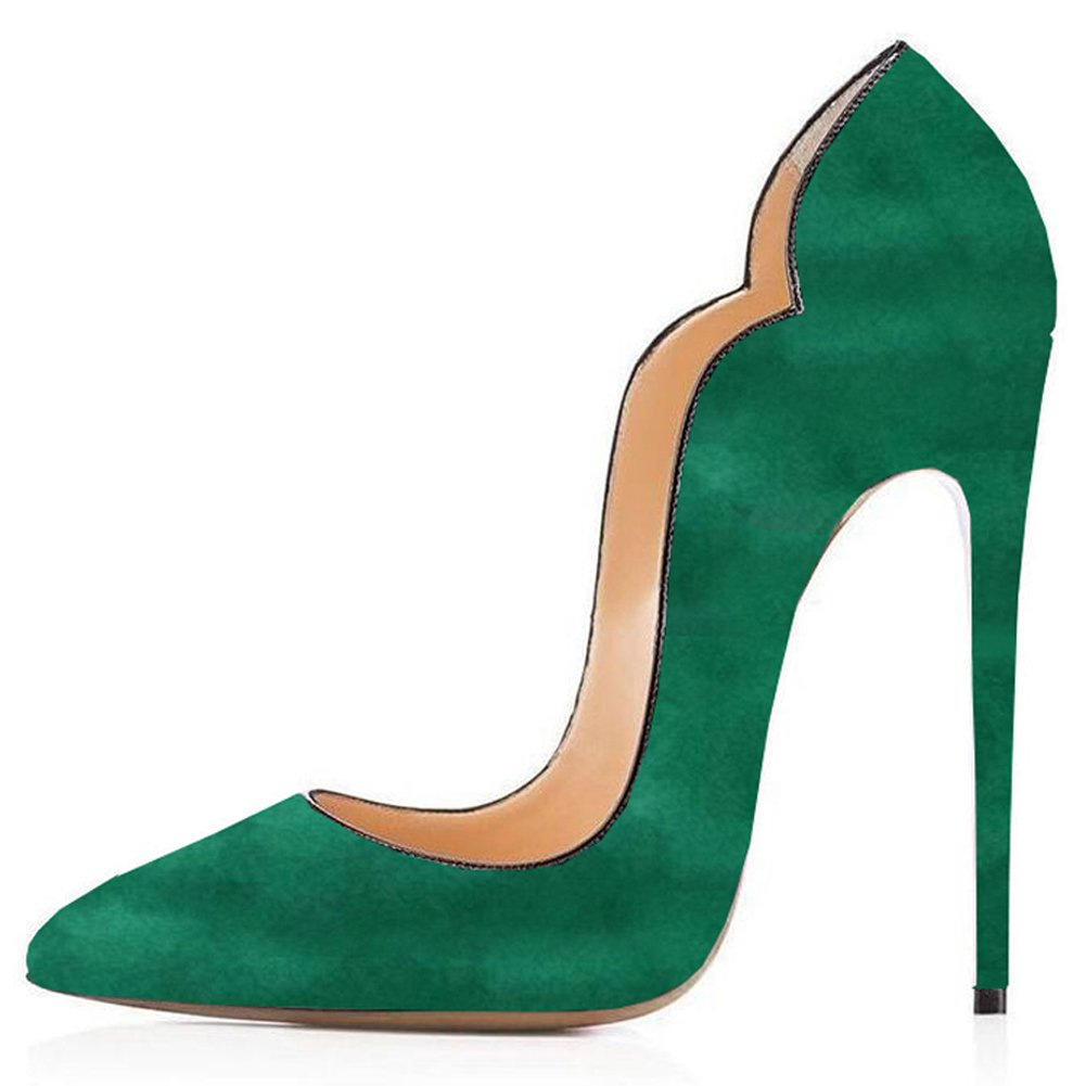 Comfity Pumps for Women, Sexy Pointed Toe High Heels On Slip On Heels Shoes Party Wedding Pumps B07142YPXQ 6.5 M US|Suede-dark Green 5f835e