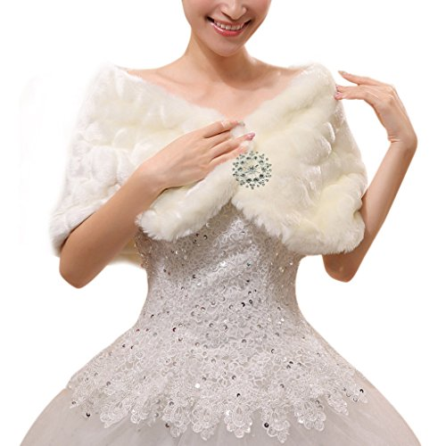 Bridal Wedding Party White Faux Fur Wrap Shawl Short Sleeve Cape/Cute Bowknot Lace Trim Winter Warm Jacket Vest Coat Stole for Women (Cape Style)