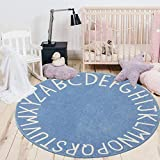 HEBE Kids Playroom ABC Rug 5.25ft Round Area Rugs
