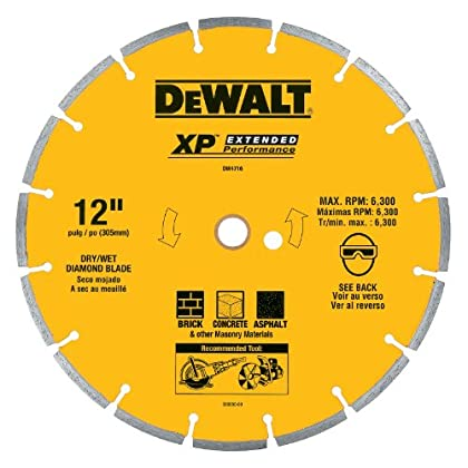 Image of DEWALT DW4716 Industrial 12-Inch Dry Cutting Segmented Diamond Saw Blade with 1-Inch Arbor Home Improvements