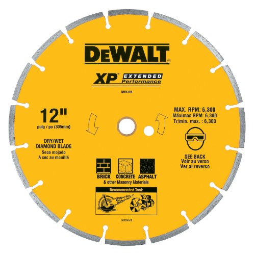Industrial Diamond Saw Blade - DEWALT DW4716 Industrial 12-Inch Dry Cutting Segmented Diamond Saw Blade with 1-Inch Arbor