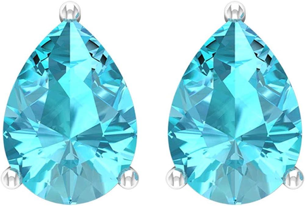 Pendientes de tuerca de 2,20 ct con solitario en forma de pera, con topacio azul, 8 x 6 mm, tamaño de noviembre, piedra de nacimiento, pendiente de lágrima, tornillo hacia atrás