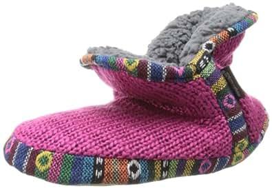 Muk Luks Women's Amira Guatemalan Slipper Bootie, Pink, Large/9-10