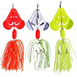 SUNMILE Fishing Buzzbait Spinnerbait Lures Double Willow Blade Spinner Baits Bass Pike Metal Fishing Lure Pack 3pcs (Mixcolor buzzbait 0.7oz)