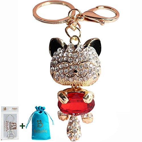 Bro'Bear Cute Kitten Sparkling Keychain Blingbling Crystal Rhinestone Handbag Charm for Cat Animal Lovers Diamond Kitty Key Ring/Chain Holder Purse Car Hanging Pendant Decoration Gift (Burgundy)