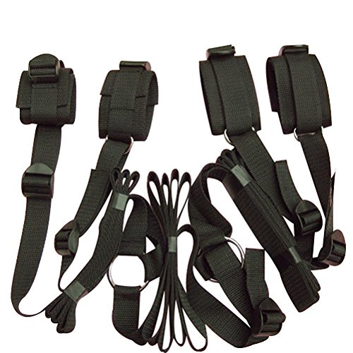 Topluck Restraints Under the Bed Restraint System Bedroom Bondage Restraint Kit Long Time Straps for Tying Down Partner Fetish Under Bed Restraint Kit with Hand Cuffs Ankle Cuff Bondage Collection for Male Female Couple(black) by Topluck