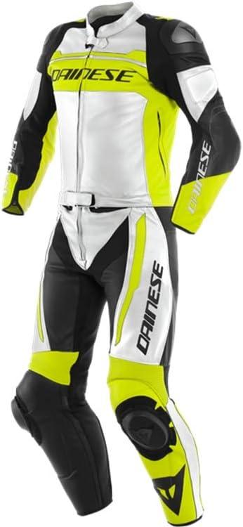 Dainese Mistel 2 Teiler Motorrad Lederkombi Weiß Gelb Schwarz 54 Auto