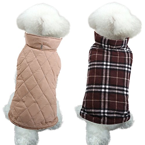 (MIGOHI Dog Jackets for Winter Windproof Waterproof Reversible Dog Coat for Cold Weather British Style Plaid Warm Dog Vest for Small Medium Large Dogs Brown XS)