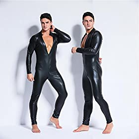 - 51odDN WHpL - Men's Wet Look PVC Leather Bodysuit Zentai Like Zipper Catsuit Jumpsuit Costumes