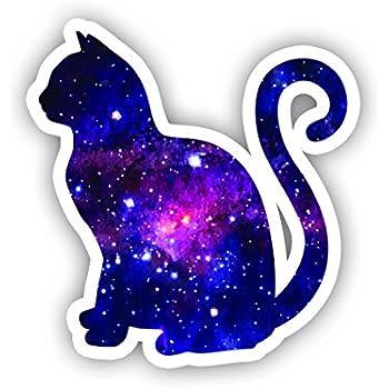 Amazon Com Cat Sitting Galaxy Sticker Laptop Stickers