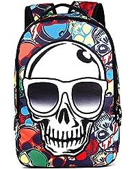 Runningtiger Skull Print Students Schoolbags Laptop Backpacks For Children Boys Girls