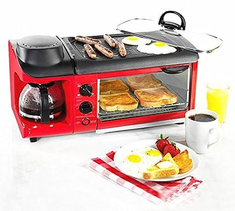 MXBAOHENG máquina de desayuno, Multifunción, 3 en 1, tostadora, sartén y cafetera : Amazon.es