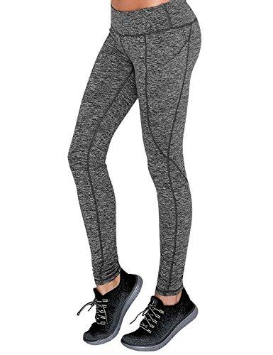 Yogareflex Women's Side Pocket Fitness Workout Running Yoga Active Legging Pants (XS-2XL) , CharcoalHeather , X-Large