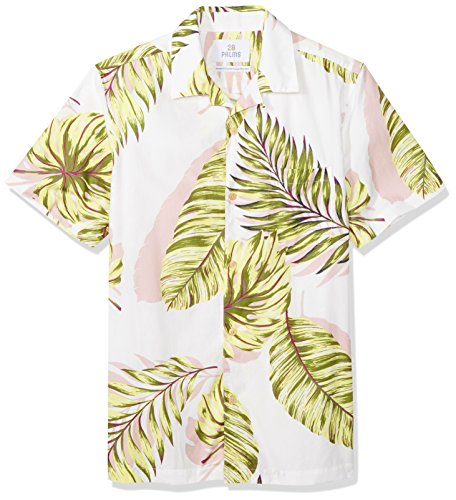 28 Palms Men's Standard-Fit 100% Cotton Tropical Hawaiian Shirt, White/Green Palm, Small