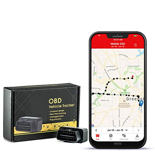 GPS Tracker with no Monthly fee, Realtime OBD GPS Tracker with 1 Year of Service Included – Low Profile Tracker