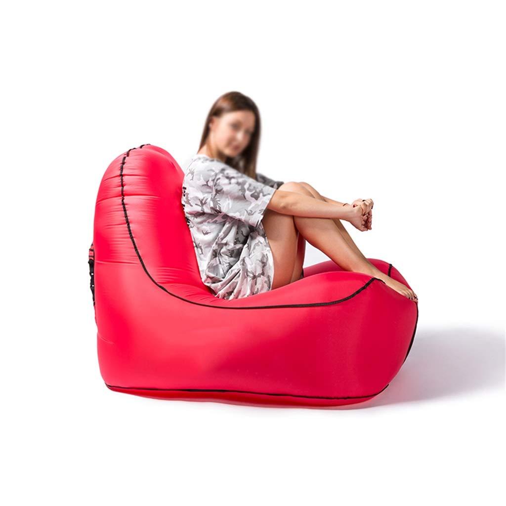 MAGO Faules Sofa - Aufblasbares Innen- Oder Couch Im Freien-einzelnes Luftschlafenbett, Tragbares Aufblasbares Sofa Für Das Kampieren, Wandern, Swimmingpool, Strand Und Reisen (Farbe : ROT)