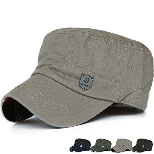 Shield Military Cap - Rayna Fashion Men Women Soft Washed Cotton Adjustable Flat Top Military Army Hat Cadet Cap Shield Logo Khaki