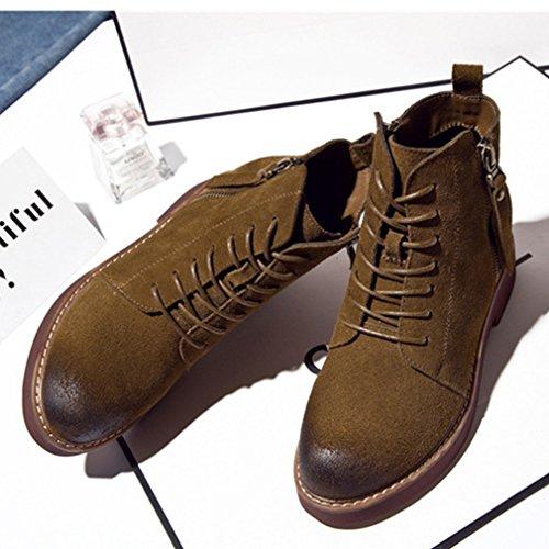 Martin Martin Kaki Bloc Basse Femmes Talon Chaussures Suédé Lacets de Chaussures de Bottes Bottes Zip Rétro Hidden Wedge wqRf4AnFx
