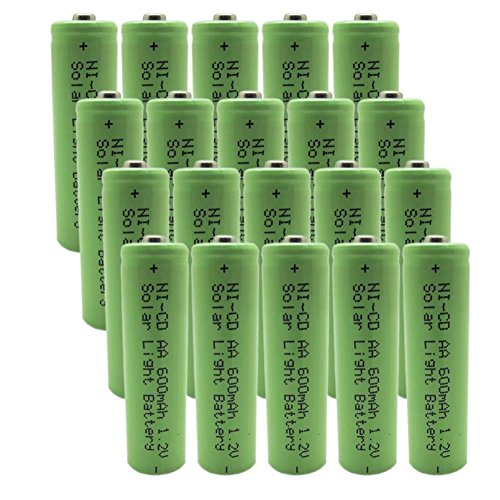 Generic 1.2v AA NiCd 600mAh Rechargeable Battery for Solar light Lamp Green Color (Pack of 20pcs AA NI-CD Batteries£©