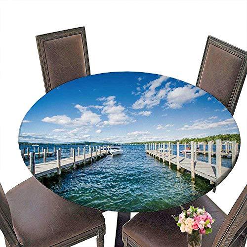 PINAFORE Elasticized Table Cover Docks Along Lake Winnipesaukee in Weirs Beach Laconia Machine Washable 40