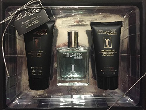Gift Set After Shave Gel (Black Extreme Cologne for Men, Gift Set Eau De Toilette 1.7 Fl Oz., & Shower Gel 3 Fl Oz. & After Shave 3 Fl. Oz.)