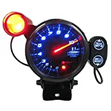 SODIAL(R) Automotive Car 3.5 Inches 0-11000 RPM Tachometer Gauge Kit Blue LED Auto Meter with Adjustable Shift Light & Stepping Motor - Black