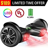 TOMOLOO Q2 Black Hoverboard with LED Light Two-wheel Self Balancing Scooter with UL2272 Certified, 6.5'' Wheel Electric Scooter for Kids and Adult