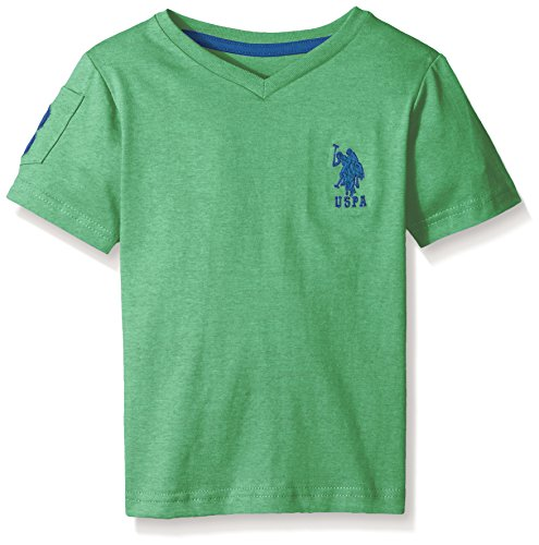 (U.S. Polo Assn. Big Boys' Solid V-Neck T-Shirt with Large Embroidered Logo, Green Heather, 14/16)