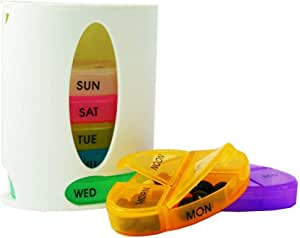 Pill Organizer Weekly with 7 Stackable Compartments, Tower Pill Case 4 Times a Day for Medication, Vitamin and Supplement