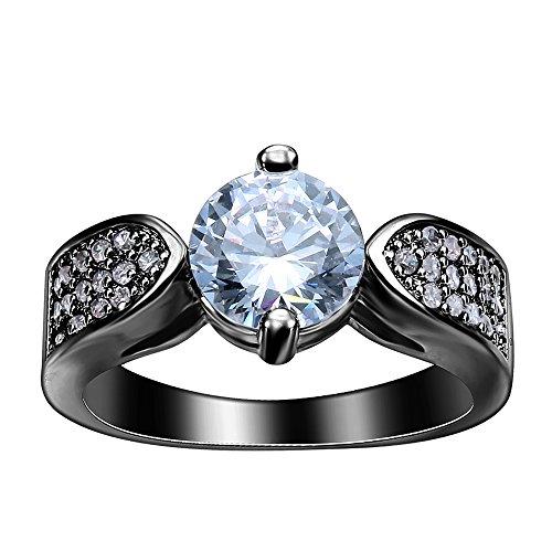 AOYOMO White Rhinestone 18K Stainless Steel Women Rings Band Jewelry 7