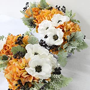 G Home Collection Luxury Orange Hydrangea and White Anemone Flower Arrangement 45