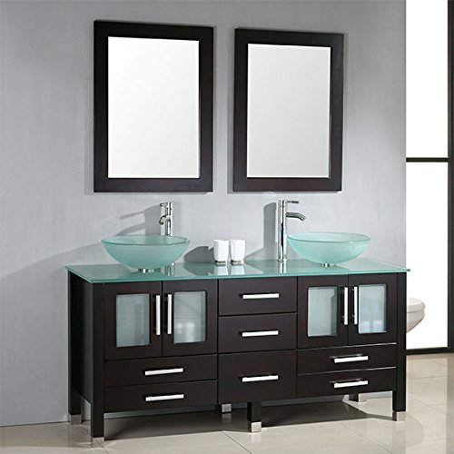 Cambridge 63 inch solid wood vanity with frosted glass counter top and two matching vessel sinks. Two long-stemmed brushed nickel faucets are