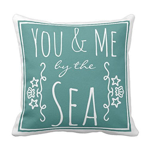 UOOPOO You & Me By the Sea Coastal Seashell Throw Pillow Case Square 16 x 16 Inches Soft Cotton Canvas Home Decorative Wedding Cushion Cover for Sofa and Bed Print On One Side