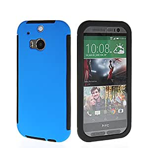 CASEPRADISE Hybrid Bumper + Silicone Etui Back Case Cover For HTC One 2 (M8) Blue