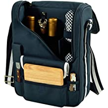 Picnic at Ascot - Wine Carrier Deluxe with Glass Wine Glasses and Accessories for Two, Navy/White