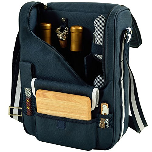 Picnic at Ascot - Wine Carrier Deluxe with Glass Wine Glasses and Accessories for Two, Navy/White (Wine Cooler Cheese)