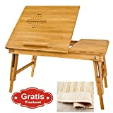 Sobuy 100% Natural Bamboo Foldable Laptop Table, Folding Bed Table, FBT04-N