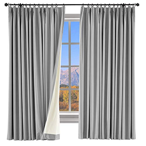 (ChadMade 100% Blackout Curtain 84 Inches Long Pinch Pleated Dark Gray Drape with Foam Coated Liner Full Shading Panel for Shift Worker Day Light Sleeper Bedroom (1 Panel) )