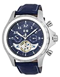 Burgmeister Men's Automatic Stainless Steel and Leather Casual Watch, Color:Blue (Model: BM346-133)