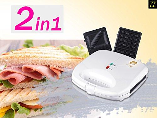 ZZ S6142B-W 2 in 1 Waffle and Sandwich Maker, White