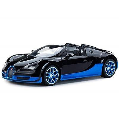 Radio Remote Control 1/14 Bugatti Veyron 16.4 Grand Sport Vitesse Licensed RC Model Car (Black/Blue): Toys & Games