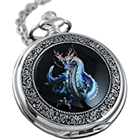 VIGOROSO Watches Steampunk Cool Evil Dragon Enamel Painting Pocket Watch in Gift Box