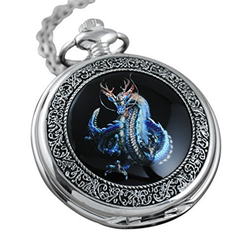 | VIGOROSO Watches Steampunk Cool Evil Dragon Enamel Painting Pocket Watch in Gift Box