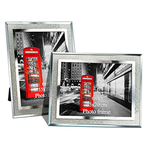 Amazing Roo 6 x 8 Glass Picture Frames for Home or Office Table Stand Artwork Photo Frame Fit 6x8 Pictures, Set of 2